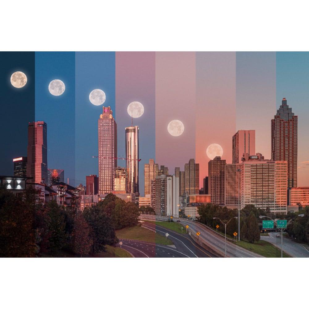 Atlanta Moonset Skyline Wall Art
